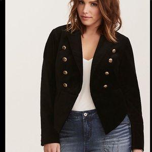 Torrid Black Velvet Military Style Jacket Sz 1X